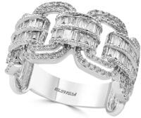 Effy Super Buy 14K White Gold and Baguette Diamond Link Ring