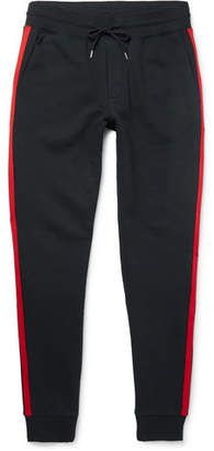 Moncler Slim-Fit Tapered Grosgrain-Trimmed Loopback Cotton-Jersey Sweatpants