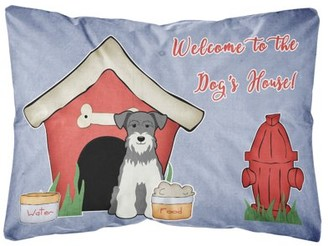 Mini A Ture Caroline's Treasures Dog House Collection Miniature Schanuzer Salt and Pepper Canvas Fabric Decorative Pillow