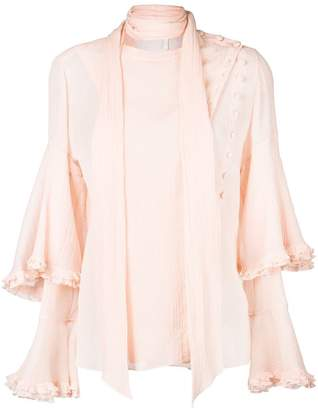 Chloé ruffled tie neck blouse