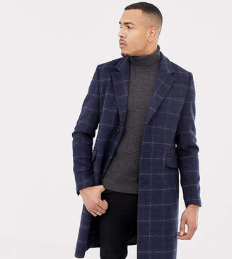 Asos DESIGN Tall wool mix overcoat in navy check