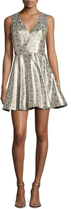Alice + Olivia Varita Metallic Cutout Fit & Flare Party Dress $440 thestylecure.com