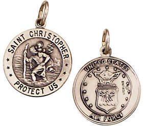 QVC Sterling Saint Christopher /Air Force Medal cha