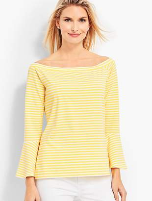 Talbots Off-The-Shoulder Flared Top-Striped
