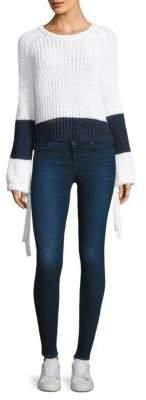 360 Cashmere Lilah Stripe Trim Cashmere Crop Sweater