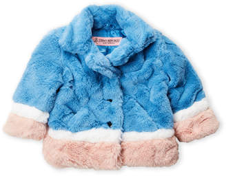 Urban Republic Infant Girls) Blue Faux Fur Colorblock Jacket