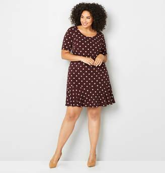 Avenue Dot Flounce Hem Sheath Dress