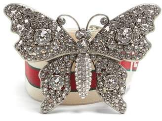 Gucci Crystal Embellished Butterfly Elastic Belt - Womens - White