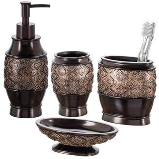 Creative Scents Dublin 4-Piece Bathroom Accessories Set, Includes Decorative Countertop Soap Dispenser, Dish, Tumbler, Toothbrush Holder, Resin Vanity Ensemble Set, Gift Boxed (Brown)