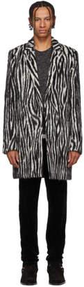 Saint Laurent Black and White Zebra Print Coat