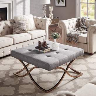 Weston Home Libby Dimpled Tufted Cushion Ottoman Coffee Table with Champagne Gold Metal X-Base, Multiple Colors