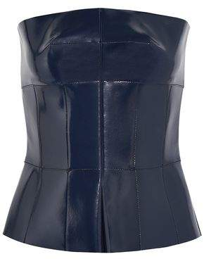 Alexander McQueen Coated-Leather Peplum Top
