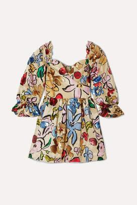 Stine Goya + Net Sustain Evelina Sequined Printed Hemp And Silk-blend Satin Mini Dress - Ecru