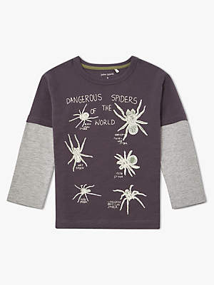 John Lewis & Partners Boys' Spider Glow In The Dark T-Shirt, Grey