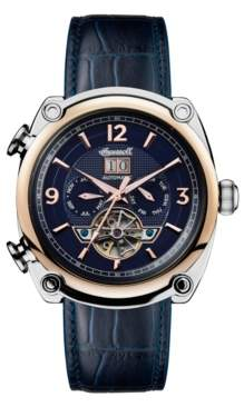Ingersoll Michigan Automatic with Two-Tone Stainless Steel and Rose Gold Ip Case, Blue Dial and Blue Croco Embossed Leather Strap