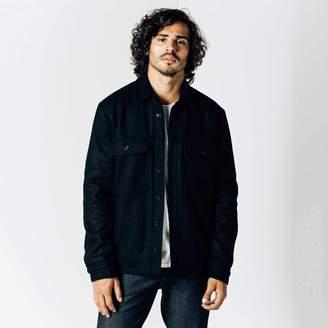 DSTLD Mens Sherpa Lined Shirt Jacket in Black