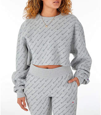 Champion Women's Reverse Weave Allover Print Cropped Crewneck Sweatshirt
