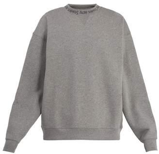 Acne Studios Flogho Round Neck Cotton Sweatshirt - Mens - Grey