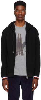 Moncler Black Wool Maglione Zip Hoodie