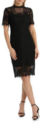Jayson Brunsdon NEW Black Label Cap Slv Black Lace Dress