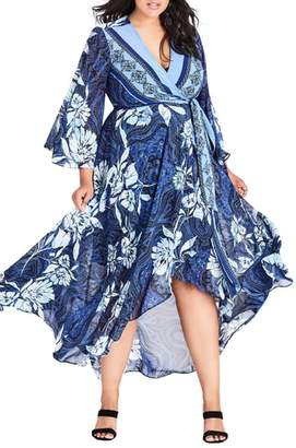City Chic Blue Illusion High/Low Wrap Dress