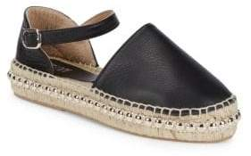 Tumbled Leather Ankle-Strap Espadrilles
