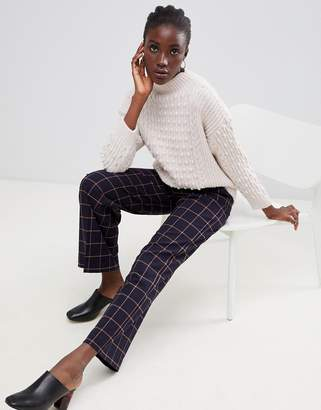 Warehouse wide leg pants in navy check