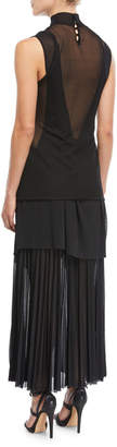 Proenza Schouler Pleated Gauze Jersey Mock-Neck Dress
