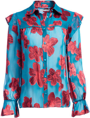 Alice + Olivia ZIGGY RUFFLE SLEEVE BLOUSE