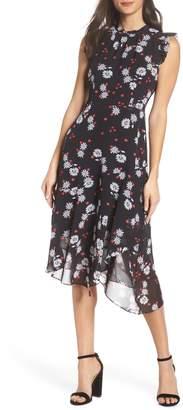 LENON Flutter Sleeve Asymmetrical Hem Dress