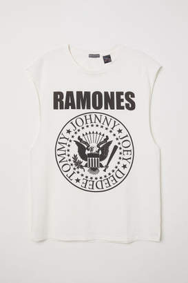 H&M T-shirt with Cut-off Sleeves - White