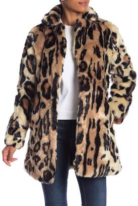 Jessica Simpson Animal Print Faux Fur Coat