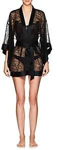 Kiki de Montparnasse Women's Silk-Trimmed Lace Kimono Robe - Black