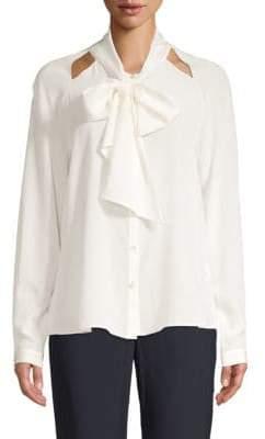 Temperley London Purity Bow Silk Button-Down Shirt