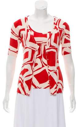 Anna Molinari Graphic Print Silk Cardigan Set