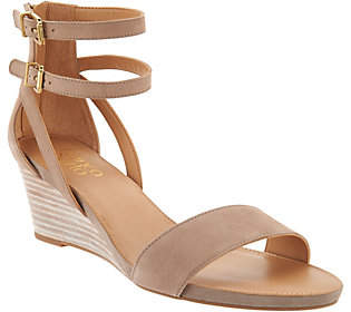 Franco Sarto Leather Ankle Strap Wedge Sandals - Danissa $64.98 thestylecure.com