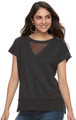 Rock & Republic Women's Mesh Inset French Terry Sweatshirt