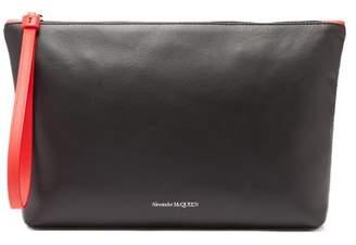 Alexander McQueen Contrast Strap Logo Print Leather Pouch - Mens - Black