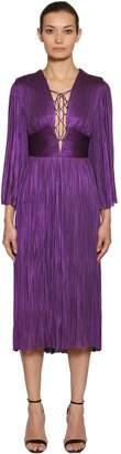 Maria Lucia Hohan Plissé Metallic Silk Tulle Midi Dress