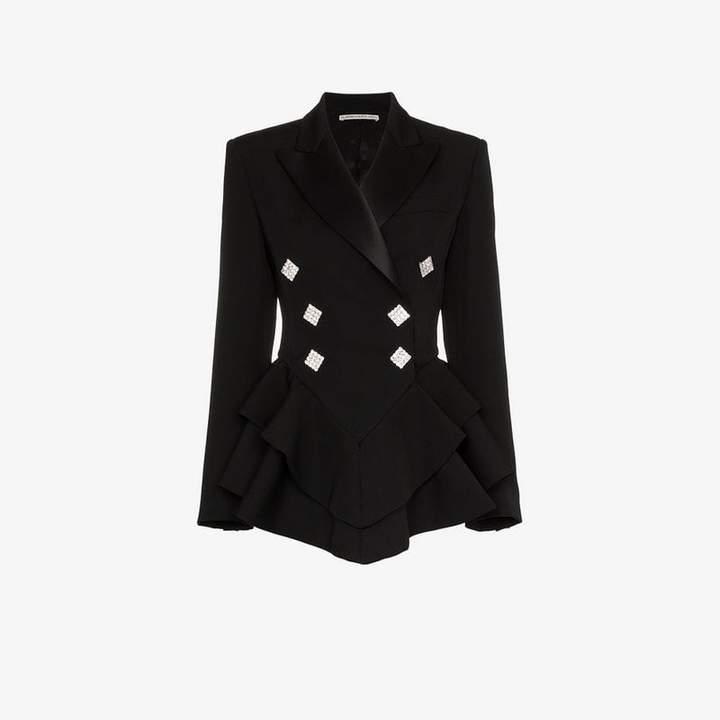 Alessandra Rich Ruffle crystal button wool tuxedo jacket