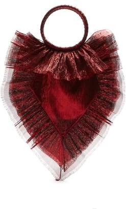 The Vampire's Wife Ruffle Trimmed Woven Clutch - Womens - Red