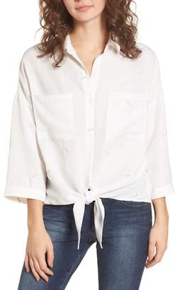 Lush TIE FRONT BUTTON UP SHIRT