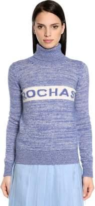 Rochas Logo Intarsia Mohair Turtleneck Sweater