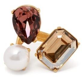 Oscar de la Renta Crystal And Faux Pearl Ring - Womens - Multi