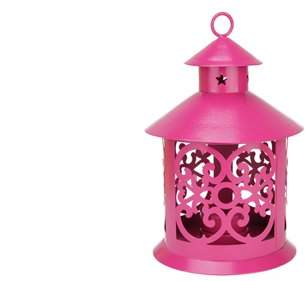 "Northlight 8"" Shiny Pink Votive or Tealight Candle Holder Lantern with Star and Scroll Cutouts"
