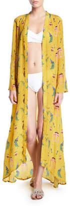 Verandah Boho Luxe Open-Front Hand-Beaded Long Kimono