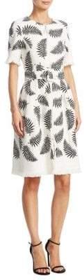 Oscar de la Renta Banana Leaf Fringe Dress