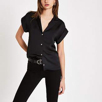 River Island Womens Black button front short sleeve shirt