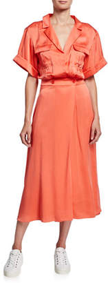 Equipment Orlenna Short-Sleeve Midi Dress with Notch Collar