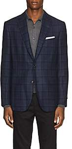 Pal Zileri MEN'S CHECKED WOOL-SILK TWO-BUTTON SPORTCOAT-NAVY SIZE 44 R